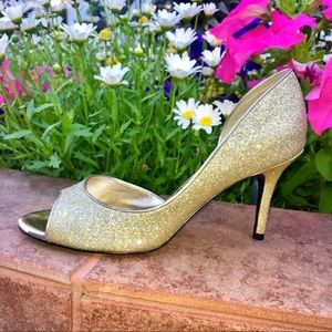 Mia gold peep toe heels